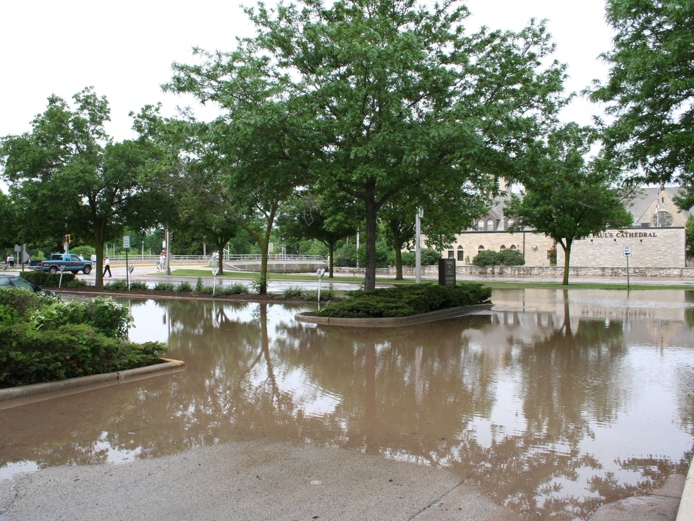 The parking lot facing the Fond du Lac River on North