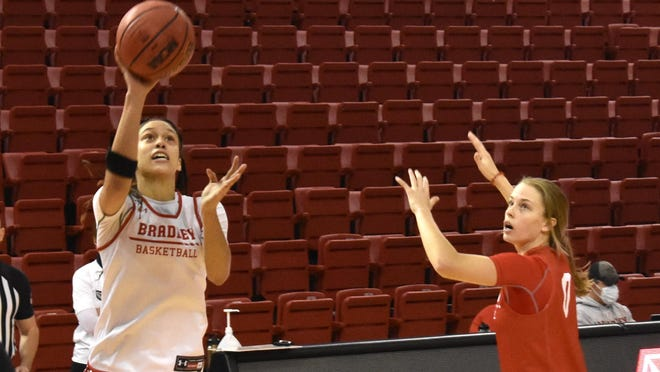 Bradley's Mahri Petree goes to the basket during the Red-White scrimmage Saturday morning at Renaissance Coliseum in Peoria.