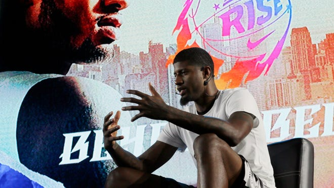 NBA basketball player Paul George of the Indiana Pacers talks about his career and his basketball clinic during a news conference to launch the Philippine reality show in basketball dubbed Nike Rise Monday, July 20, 2015 at suburban Mandaluyong city, east of Manila, Philippines. George is in the Philippines for the second time to conduct clinics among the less-privileged Filipino basketball fans.