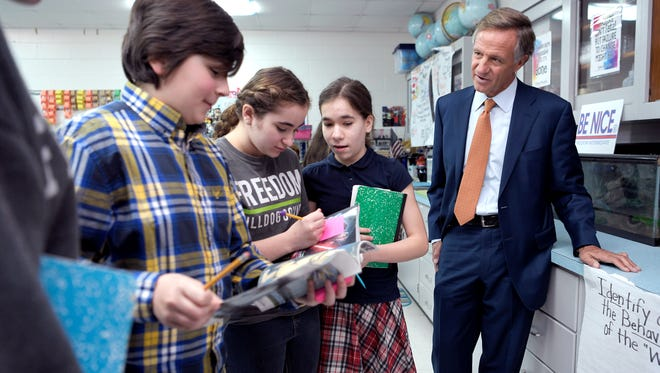 Gov. Bill Haslam visits a Freedom Intermediate School's 6th grade science classroom in Franklin, Tenn. on Tuesday, Jan. 23, 2018. The visit was part as of his Capitol to the Classroom tour.