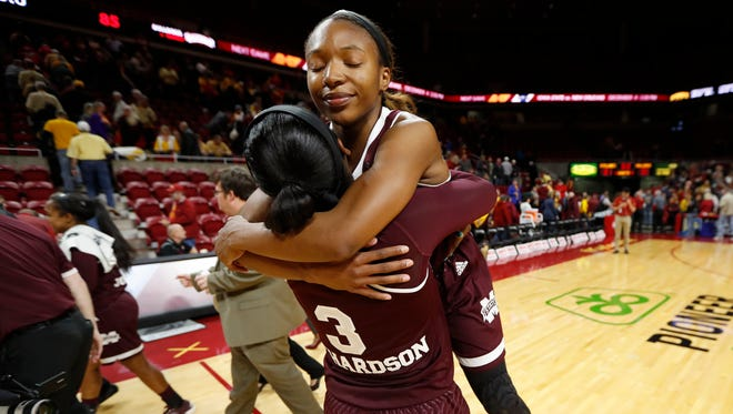 Mississippi State guard Morgan William celebrated with Breanna Richardson after the Bulldogs won at Iowa State.