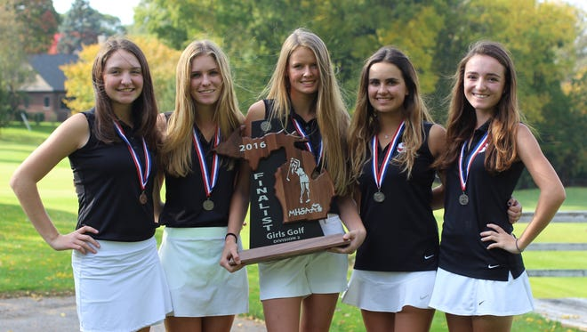 Seaholm's girls golf team members (from left) Emma Whittington, Olivia Gooch, Hailey Roovers, Cate Joelson and Mary Neal, left the Division 2 state meet with the runner-up trophy.