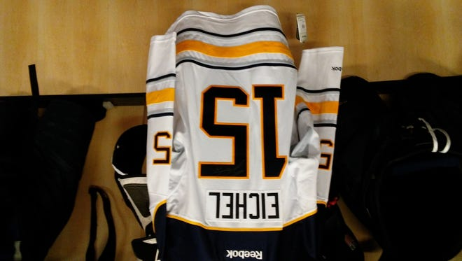 Fans attending Friday night's game at USA Hockey Arena can go home with this and other autographed NHL jerseys of NTDP alums (such as Buffalo's Jack Eichel). Fans must attend to win one, however. Game time is 7 p.m. with the NTDP U-18s facing Arizona State University.