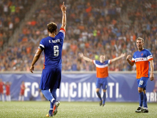FC Cincinnati midfielder Kenney Walker (6) celebrates