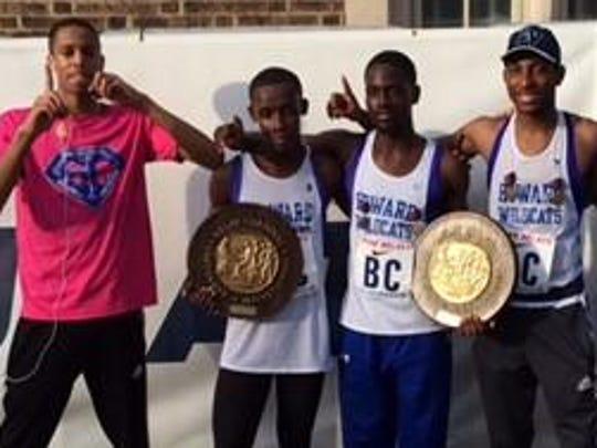Howard's track team, from left, are Julian Brown, Ian Chenge, Edwin Rosembert, Brandon Justin and Coach Ed Palka.