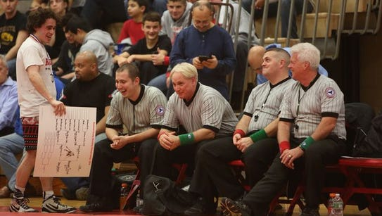 Wrestling action during the Rockland county wrestling