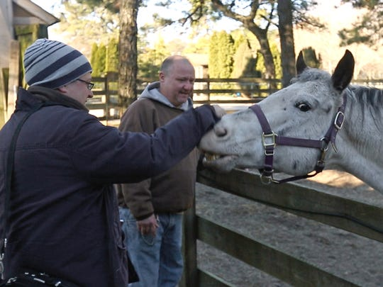 Reporter Jerry Carino gets to know Mickey the horse before helping zookeeper Mike Pisano to clean his yard at Popcorn Park Zoo.