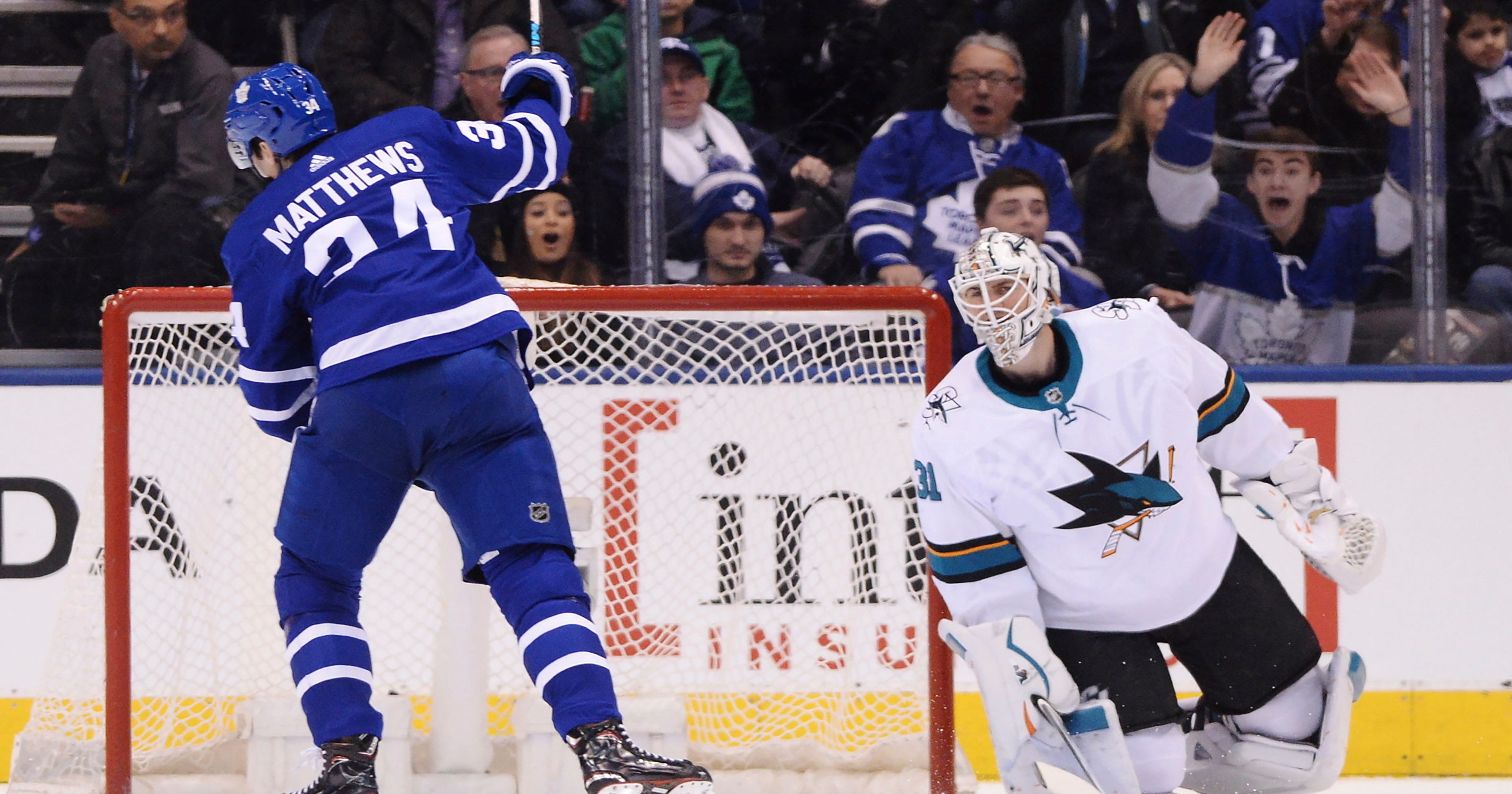 8705d3680dd Kadri tugs at Thornton's beard, Maple Leafs beat Sharks