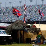 Confederate flags fly prior to an Xfinity Series practice on Friday at Daytona International Speedway in Daytona Beach, Fla.