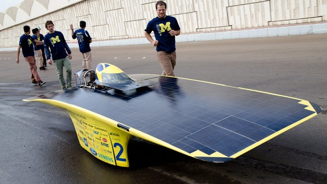 Students and alumni of the University of Michigan Solar Car Team participated in the Abu Dhabi Solar Challenge in January 2015.
