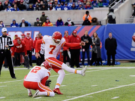 Kansas City Chiefs kicker Harrison Butker (7) kicks a field goal during the second half of an NFL football game against the New York Giants Sunday, Nov. 19, 2017, in East Rutherford, N.J. (AP Photo/Bill Kostroun)