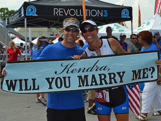 Sean Edwards proposed to Kendra Fauth at the finish line of a half ironman in 2011.