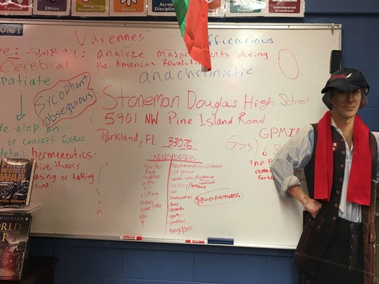 Swope Middle School teacher Todd Bodensteiner has the address for the high school in FLorida on his classroom board. He has encouraged students to write letters to the school.