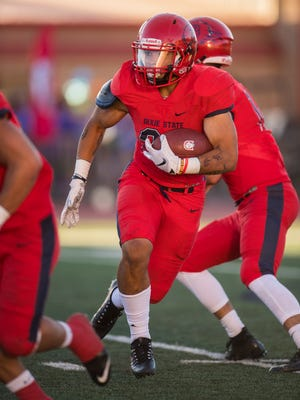 Dixie State RB Lawrence Starks, seen in a file photo, had five carries for 23 yards in the game against Western Colorado on Oct. 13, 2018.