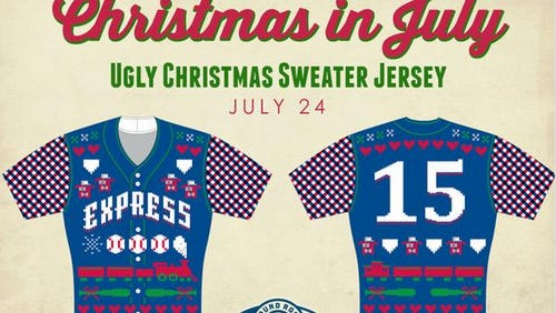 The Round Rock Express will wear these ugly Christmas sweater jerseys on July 24.