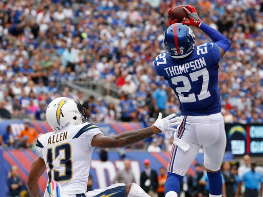 New York Giants free safety Darian Thompson intercepts