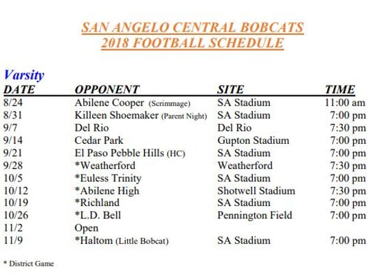 Central's 2018 Football Schedule according to SAISD.org
