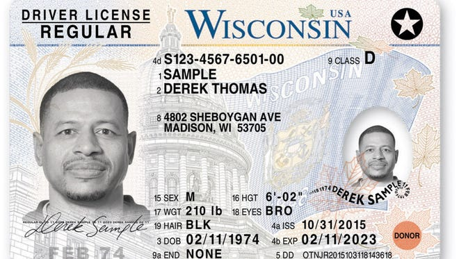 As of 2015 Wisconsin driver's licenses and ID cards feature black and white laser-engraved photos and other security features.