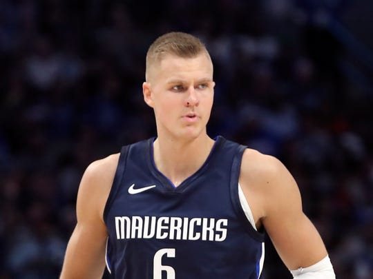 Oct 23, 2019; Dallas, TX, USA; Dallas Mavericks forward Kristaps Porzingis (6) reacts during the game against the Washington Wizards at American Airlines Center. Mandatory Credit: Kevin Jairaj-USA TODAY Sports