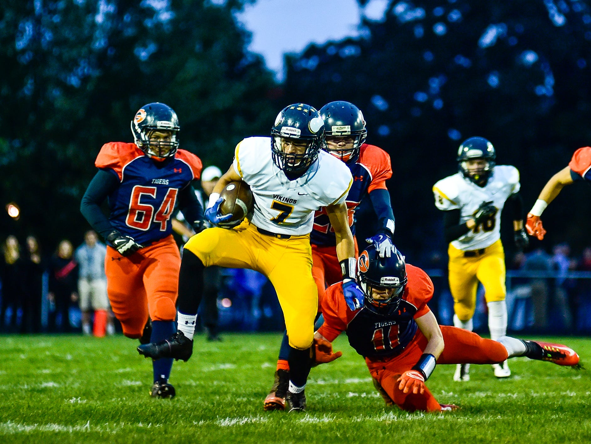River Valley's Baily Cole makes a massive return after the first kickoff during the River Valley vs Galion football game in Galion.