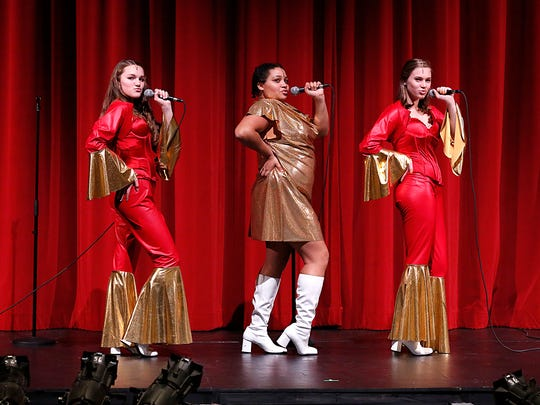 """Jenna Roth, Zakia Trotter and Kiya Petik perform in """"Sister Act"""" at the Fond du Lac High School, on Tuesday Oct. 24, 2017."""