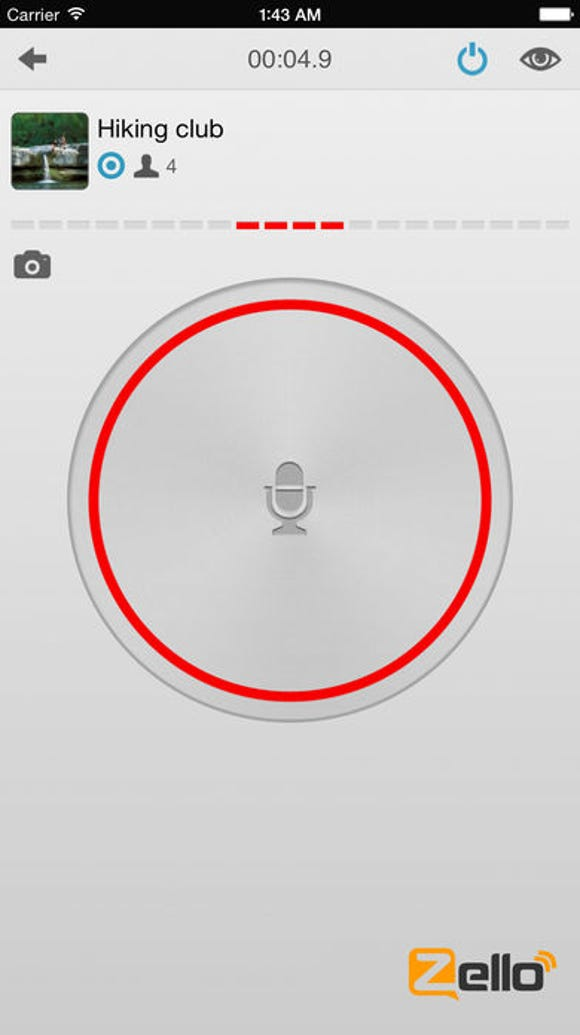 A screenshot of the push-to-talk app Zello.