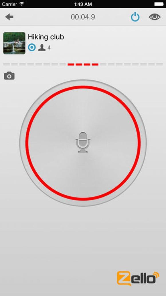 A screenshot of the push-to-talk app Zello.