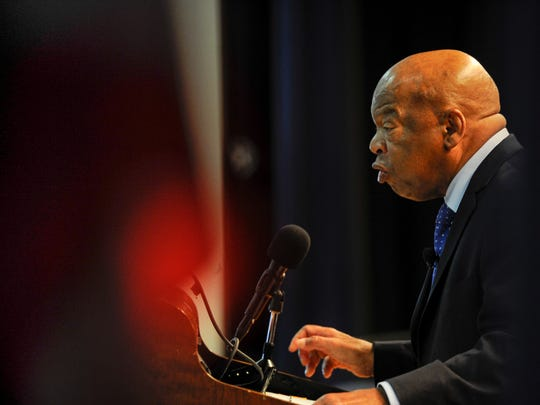 U.S. Rep. John Lewis addresses a crowd of hundreds to talk about his life, activism and what we can do in society today on Nov. 18, 2016, at the Martin Luther King Jr. Magnet School in Nashville.