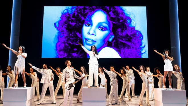 "Alex Hairston, from left on blocks, Dan'yelle Williamson and Olivia Elease Hardy star in the national tour of  ""Summer: The Donna Summer Musical"""