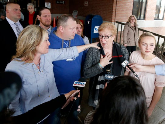 Liz Stage speaks to the media about the guilty verdict
