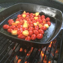 Grilled tomatoes and peaches