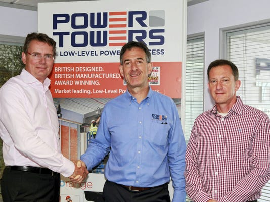 JLG Industries on June 1 acquired Power Towers. (from left) Karel Huijser, JLG's vice president and general manager - EMEA; Brian King, managing director of Power Towers; Mark Richardson, director of product development for Power Towers.   Courtesy photo