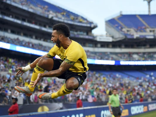 Jamaica forward Giles Barnes celebrates his goal against Haiti during the first half of a CONCACAF Gold Cup quarterfinal match on Saturday in Baltimore.