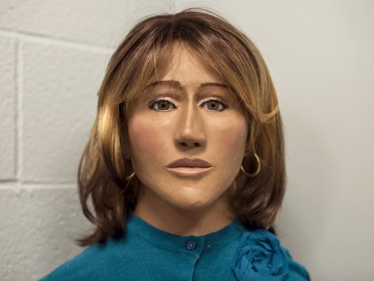 A recently created bust of a woman whose naked body was found partially decomposed on Oct. 10, 1973 sits on a table at the PA State Police station in Lickdale.  Jeremy Long -- Lebanon Daily News