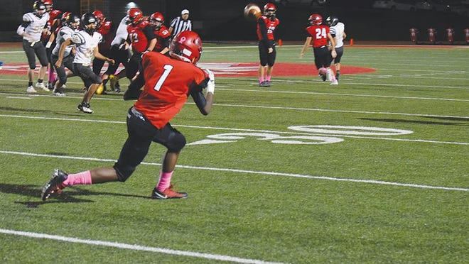 Shown is Lansing senior wide receiver Malik Benson.