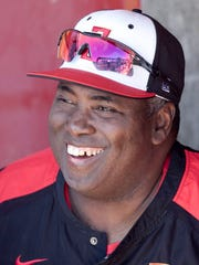 Tony Gwynn watches his San Diego State team from the