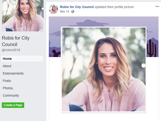 A screenshot of Alyssa Robis' Facebook page. Robis was running for Scottsdale City Council when she voluntarily withdrew due to unforeseen challenges.