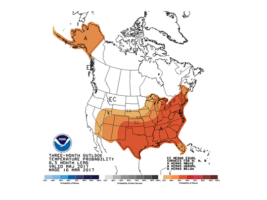 The forecast for April-June from the Climate Prediction