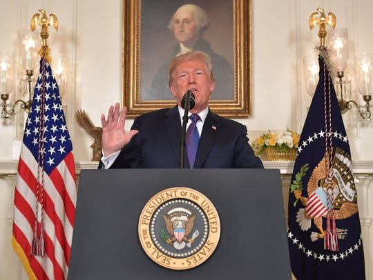 US President Donald Trump addresses the nation on the
