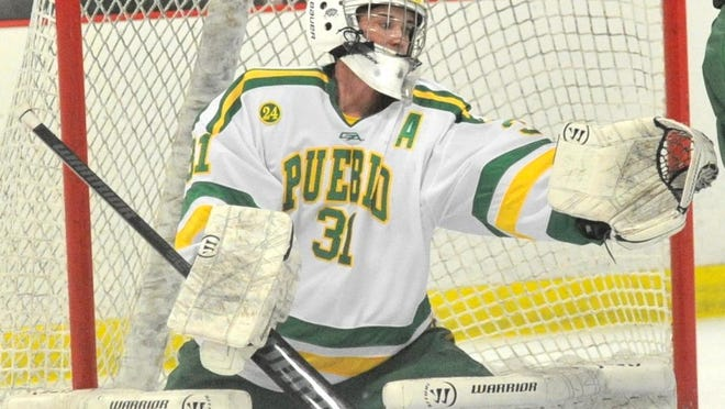 Pueblo County's Sean Valdez snags a glove save during the Hornets' 9-1 loss to 2nd-ranked Valor Christian at the Pueblo Plaza Ice Arena on Jan. 9, 2019.