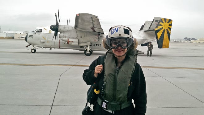 Donna Echols on the deck of the USS Stennis.