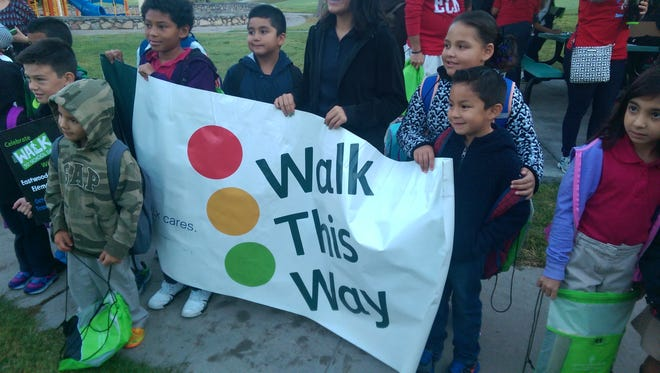 Eastwood Heights Elementary students prepare to walk.