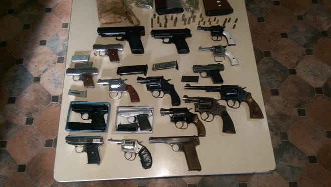 Guns collected at the Street Rescue community gun buy back in Walnut Hills in November.