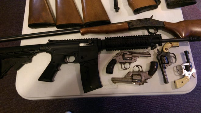 Some of the guns collected at the Street Rescue community gun buy back in East Westwood on December 18.
