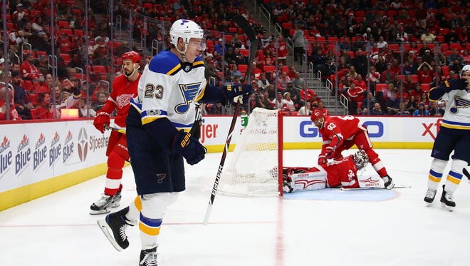Dmitrij Jaskin of the St. Louis Blues reacts to his third-period goal against the Red Wings at Little Caesars Arena on Dec. 9, 2017 in Detroit.