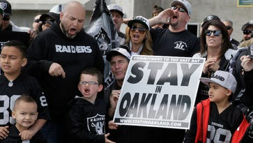 Raiders fans at a rally this weekend in Oakland.