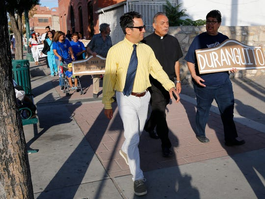 Max Grossman joins over 75 Duranguito protesters as they march to City Hall to protest potential demolition of buildings in the old neighborhood in September 2017.