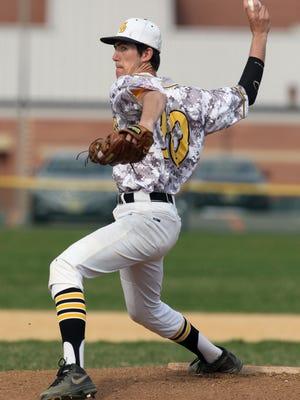 South Brunswick takes on Edison in a boys varsity baseball game at South Brunswick High School Thursday April 16,2015South Brunswick's # 10- pitcher Brandon Siroki on the mound.