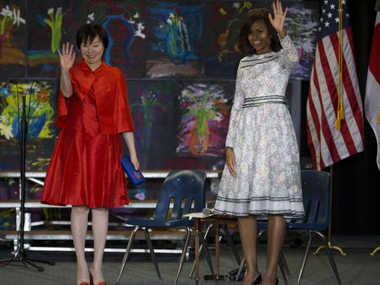 Fist lady Michelle Obama with Akie Abe at Great Falls