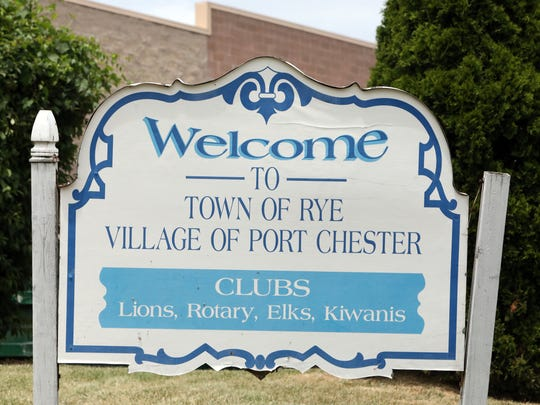 Welcome to the Town of Rye, Village of Port Chester sign June 20, 2018.